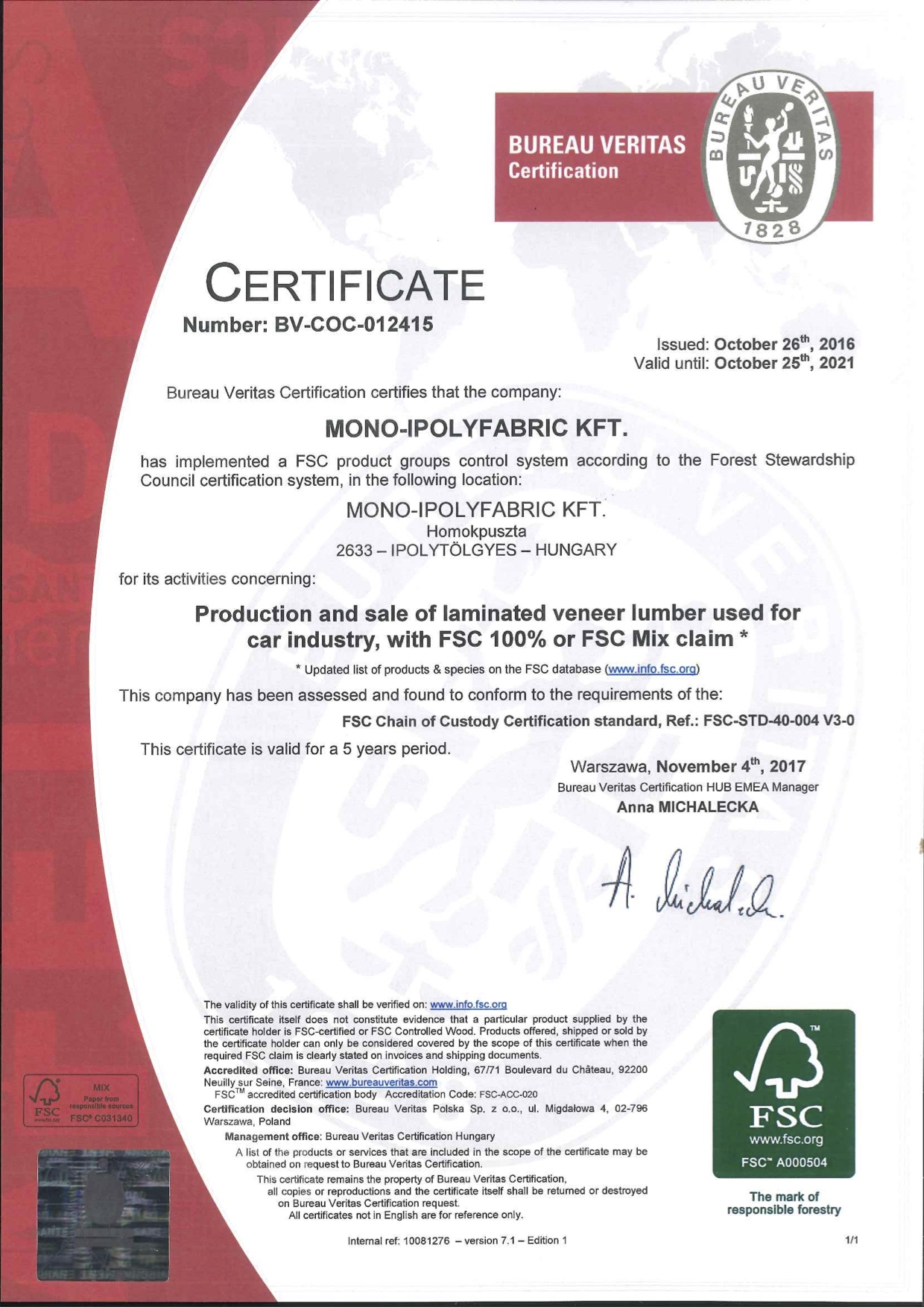 fsc certificate stewardship forest council check mono report certified